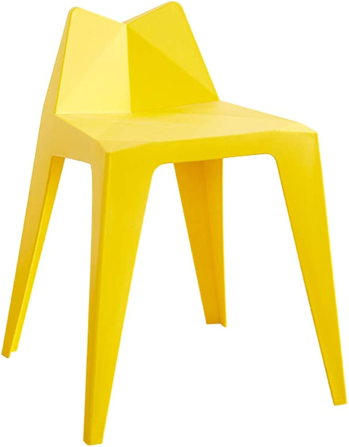 Plastic Dining Chair Living Room Home Bench, Simple Bar Stool Restaurant Table and Stool -L3534H58CM (color   Yellow)