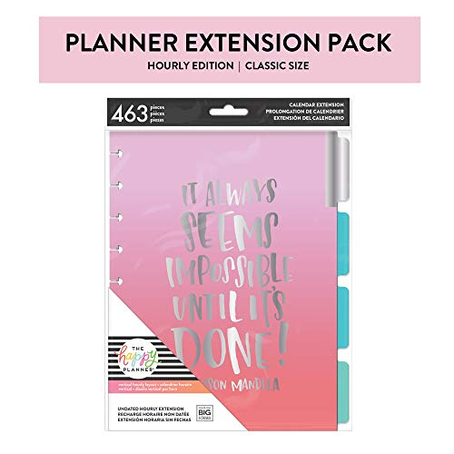me & my BIG ideas 6 Month Calendar Extension - The Happy Planner Scrapbooking Supplies - 6 Pre-Punched Dividers - Undated Monthly & Weekly by Hour - Stickers with Months and Numbers - Classic Size