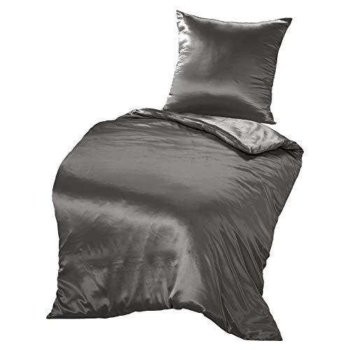 THXSILK Seidenbettwäsche Set 2 teilig, Bettbezug 135 x 200 cm und 80 x 80 cm Kissenbezug, Hypoallergen 19 Momme Maulbeerseide Bettwäsche, Ultra Weich und Glatt, Holzkohle