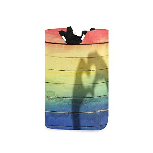 N\A Cesto de lavandería, LGBT Love Rainbow Beach Madera Cestas de Almacenamiento de Ropa Ropa Plegable Bolsa de Organizador de Juguetes para dormitorios Cuarto de Lavado Baño