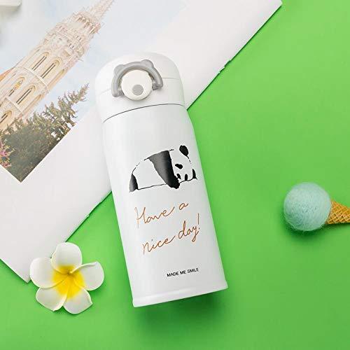 ZGZFEIYU Frascos de vacío de Acero Inoxidable de Gato de Dibujos Animados de 350 ml / 500 ml, Taza Termo portátil, Botella de Agua térmica de Viaje, termocup-White||350ml