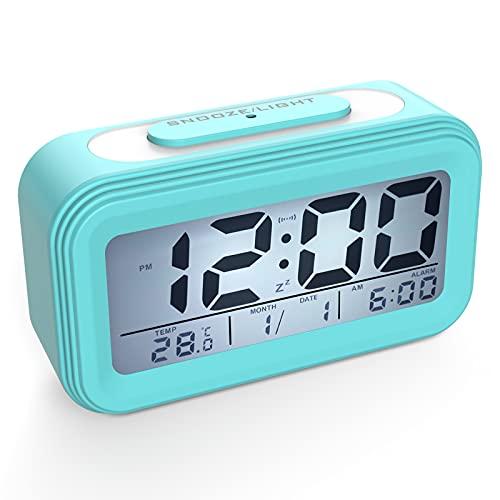 Coolzon Despertador Digital, Alarma Reloj Despertador Pilas para Infantil Niño Adulto, Despertador de Viaje Silencioso con Pantalla LED Calendario Temperatura Función Snooze Luz Nocturna, Azul