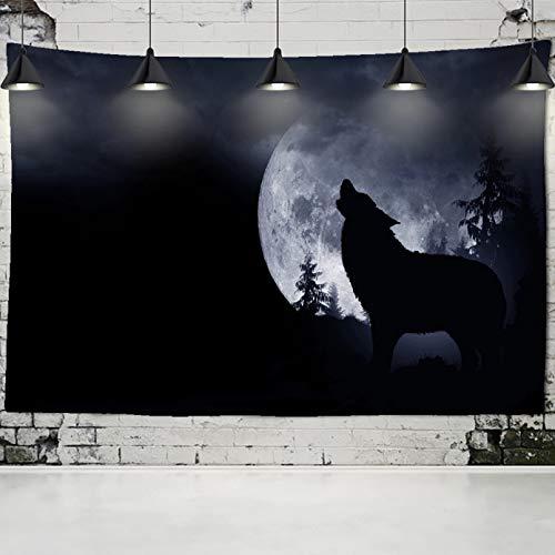 N/A Tapiz Impreso En 3D Tapiz Negro Lobo Luna Fondo Colgante De Pared Lobo Solitario Tapiz Aullado...