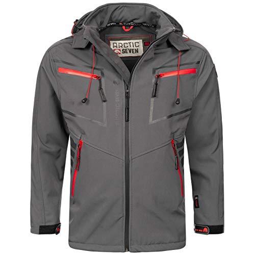 Arctic Seven Herren Designer Softshell Funktions Outdoor Regen Jacke Sport AS088 [AS-088-Dunkelgrau-Gr.M]