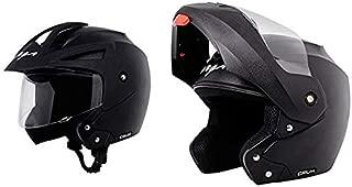 Vega Crux Half Face Helmet (Black, M) & Crux Flip-up Helmet (Black, M) Combo