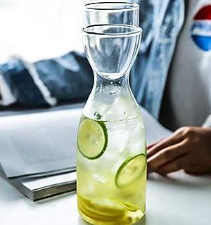 Tiktalk Glass Bedside Water Carafe Set with Tumbler Glass Set for Bathroom Mouthwash Bottle, Bedroom Nightstand, 20ounce/6...