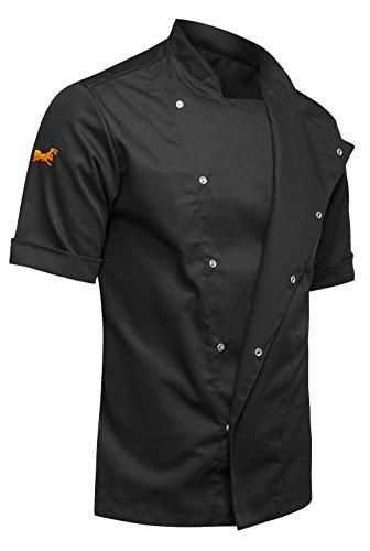 strongAnt - Giacca Casacca da Cuoco Chef Bicchierino-Manicotto. PIZZAIOLO, Ristorante, ristorazione Pizzeria - Fatto in UE - Nero L