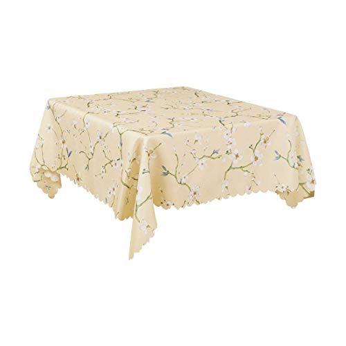 DyniLao mantel cuadrado de lino y algodón de 55 x 55 pulgadas, mantel con estampado de flores para cocina, cena, boda, color caqui