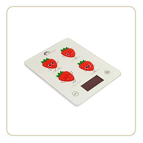 LITTLE BALANCE 8349 Slim - Balance de cuisine électronique - 5 kg / 1 g - Plateau en verre trempé - Design extra-plat - Décor Fraises Animées
