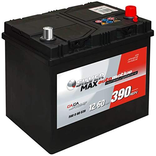 Starterbatterie ASIA SilverMax 12V 60Ah Japan 56068, Plus rechts