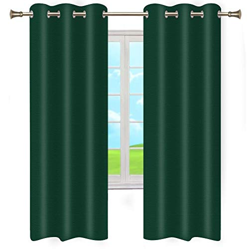 Blackout Curtain Shade Insulation Curtain for Bedroom Living Room Balcony Curtain Thermal Insulated Solid Grommet Curtains (Hunter Green, 1 Pair, 42 by 84-Inch) CLZDMN22