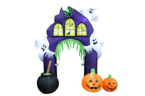 Halloween Blow Up Decorations Lighted Castle Archway with Pumpkins and Ghosts