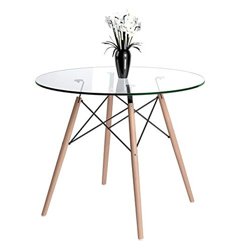 Jooli H Round Dining Table, Scandinavian Glass Kitchen Table with Solid Beech Legs for Dining Room Kitchen Office Bistro, 90cm