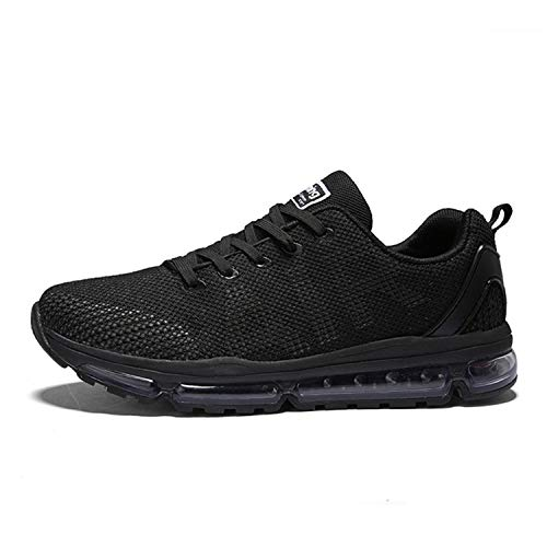 Axcone Homme Femme Air Running Baskets Chaussures Outdoor Running Gym Fitness Sport Sneakers Style Respirante,Noir,39 EU