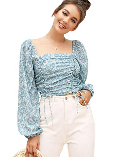 SOLY HUX Blusas de manga larga con volantes y cuello redondo para mujer, Azul, L