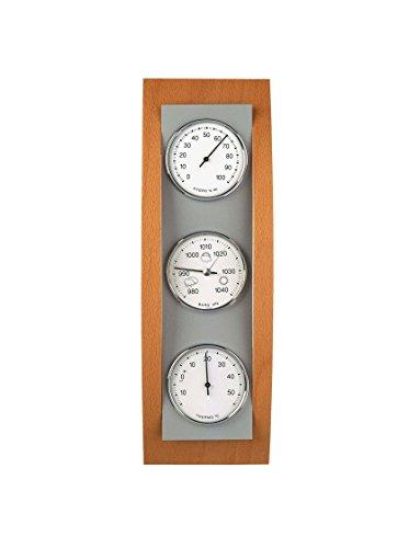 TFA Dostmann Analoge Wetterstation, aus Aluminium und Holz, Barometer, Thermometer, Hygrometer