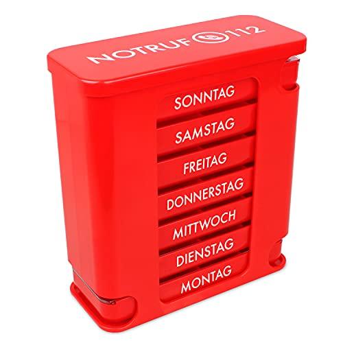 Kerpers® Pillendose 7 Tage mit je 4 Fächer - Hergestellt in Deutschland - Tablettenbox, Pillenturm, Pillen, Wochendispenser, Medikamentenbox zur Aufbewahrung von Tabletten