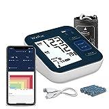 Wellue B02T Monitor di pressione sanguigna Bluetooth con Smart App, monitor di pressione sanguigna digitale con grande polsino 9-16in, 2 * 120 memoria, controllo di aritmia, grande schermo