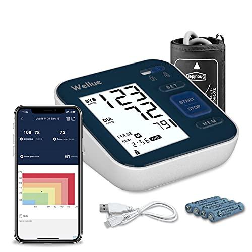 Wellue B02T Monitor de presión arterial Bluetooth con Smart App, Monitor de presión arterial digital con manguito grande de 9-16in, 2*120 de memoria, comprobación de arritmias