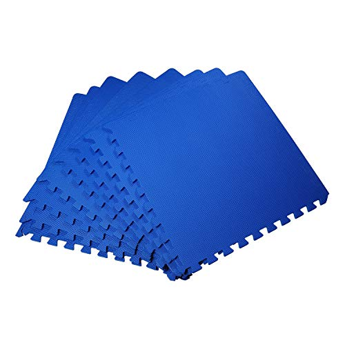 Nishore Tappeto Puzzle a Incastro Set 8 Pezzi 60x60cm Blu