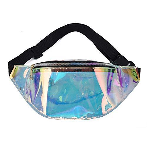 AYCPG Bolsa de la Cintura Transparente Fanny Fanny del Bolso de riñonera Paquetes de Bolsa en el Pecho de Hip Hop de la Bolsa de láser lucar (Color : A)