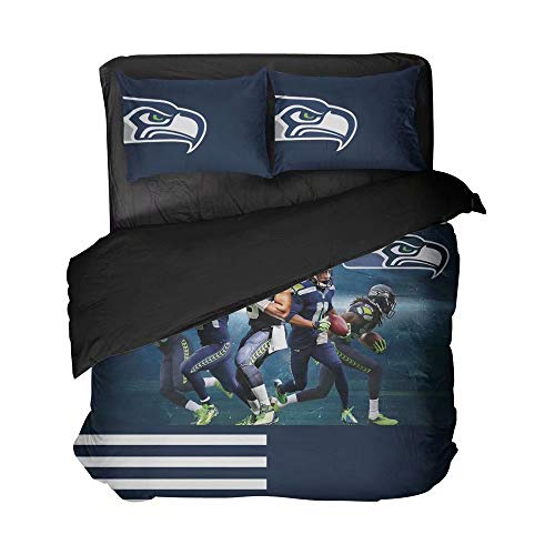 Dark Blue and White Bedspread Sets Clear Graphic of 5 Settle Football Sportsmen Duvet Coverlet Breathable 2 Pillowcases Queen Size for Boys(Full 3pcs)