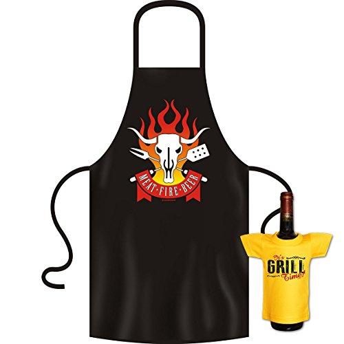 Lustige Männer Grillschürze Chef am Grill Kochschürze Partyschürze BBQ Geschenk