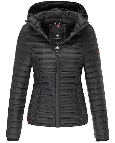 Marikoo Damen Winter Jacke Stepp Jacke mit Kapuze Übergangsjacke SMT2 (S, Schwarz)
