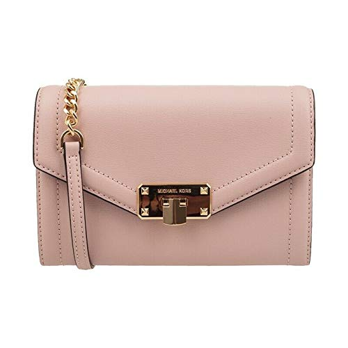 "Michael Kors Kinsley Medium Wallet Chain Bag Crossbody Blossom PInk Wallet on leather chain, Clutch, Crossbody, Shoulder Bag approx 9""x 6"" x 2.5"" Front flap latch closure, back slip pocket, removable adjustable shoulder strap Inside feature wallet se..."