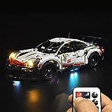 N&G Juego de Luces para decoración del hogar, Juego de Accesorios para Bloques de construcción de luz LED con Pilas para Porsche 911RSR Racing Car 42096 - Versión remota (no Incluye el Modelo)