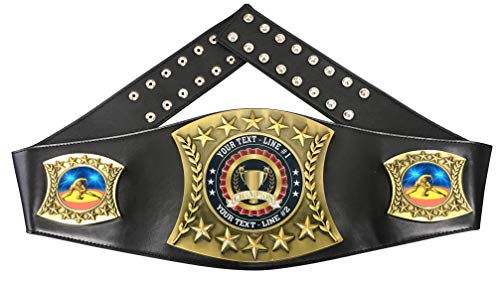 Express Medals Custom Wrestling Trophy Personalized Championship Leather Belt D90