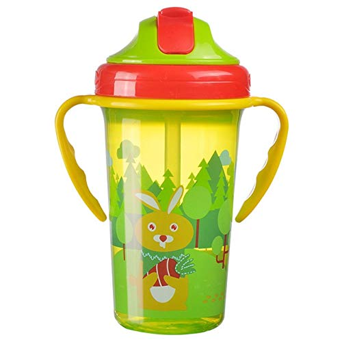 JIANGQIAO 400ML Cute Feeding Cup with Straw Free Portable Feeding Bottle Leak Proof with Handle Training water bottle (Size : Green)