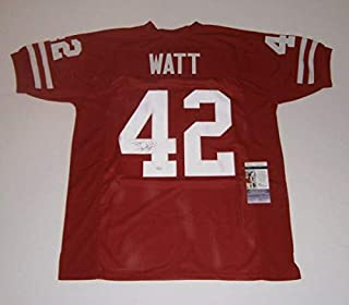 Wisconsin Tj Watt Autographed Signed Custom Red Jersey (Size XL) with 42 JSA COA Autographed Signed
