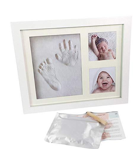 Kit de marco de huellas de mano y pie de bebé, decoraciones de pared o mesa con recuerdos memorables