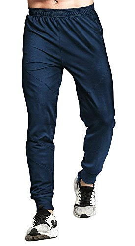 TBMPOY Men's Basic Active Gym Training Tapered Solid Knit Sweatpants(Navy,us L)