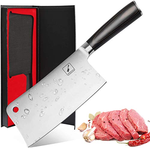 Imarku Cleaver Knife 7 Inch German High Carbon Stainless Steel Chopper Knife for Home Kitchen and Restaurant with Comfotable Handle