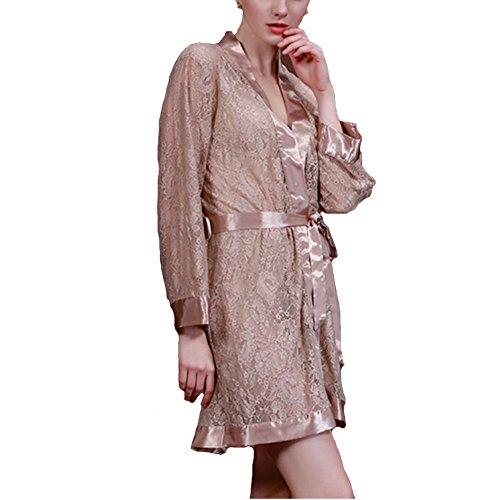 Morbuy Damen Morgenmantel Sexy Kimono Satin Kurz Nachtwäsche Bademantel Robe Schlafanzug Mit Spitze und Luxuriös V Ausschnitt Mit Gürtel Nachthemd Negligee Nachtwäsche Pyjama (Kamel)