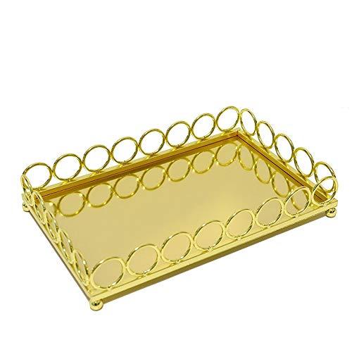 Dekorative Tablett Organizer Tray Dekorative Rechteck Tray Gold Metal Schmuck Vanity Parfüm Kosmetik Make-up Organizer-Tabellen-Behälter Schreibtisch Dekor Gold- für Dresser, Badezimmer