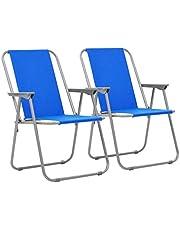vidaXL 2x Kampeerstoel Inklapbaar Blauw Kampeer Stoel Stoeltje Campingstoelen