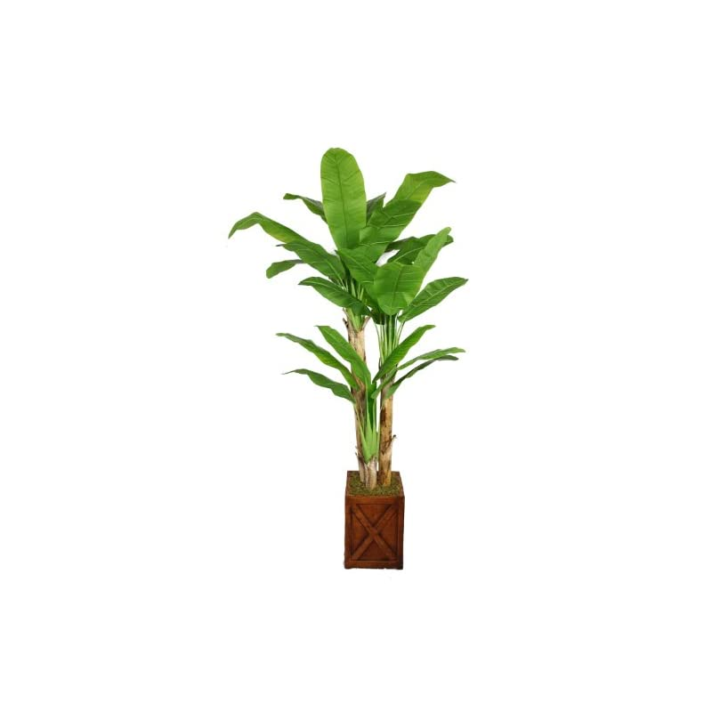 """silk flower arrangements vintage home 81"""" tall banana real touch leaves in planter artificial tree, green"""