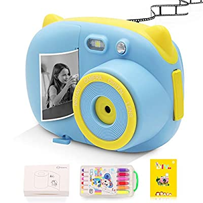 Instant Print Camera for Kids Camera Toys with WiFi + Printer Paper + Color Brush + Painting Book,Carrying Case,Assorted Frames from GordVE