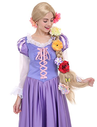 Angelaicos Womens Long Braids Blonde Costume Rapunzel Wig with 10pcs Flowers