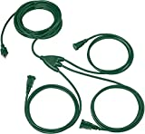 1 to 3 Extension Cord Splitter - 6 Foot Green Power Squid - 16/3 SJTW Outdoor Outlet & Plug Splitter Cable - Great for Powering Outdoor Christmas Decorations