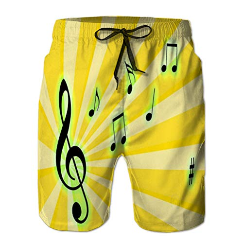 Holefg3b Men's Summer Boardshorts Outdoor Sports Casual Shorts Music Notes Electric