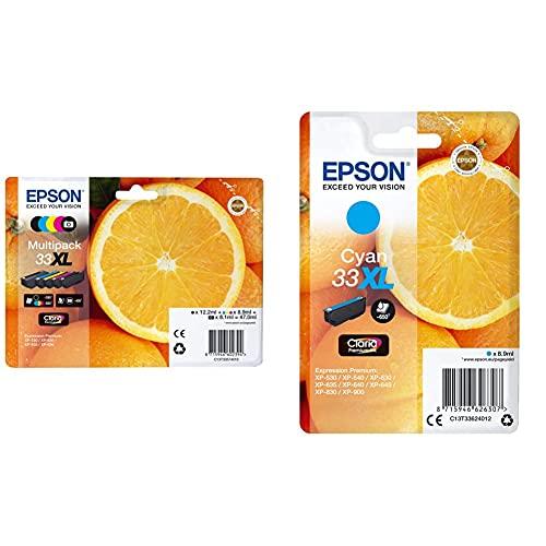 Epson Multipack 5-Colours 33Xl Claria Premium Ink & 33 Xl Serie Arancia Cartuccia Originale, Xl, Ciano, Con Amazon Dash Replenishment Ready, Imballaggio Standard