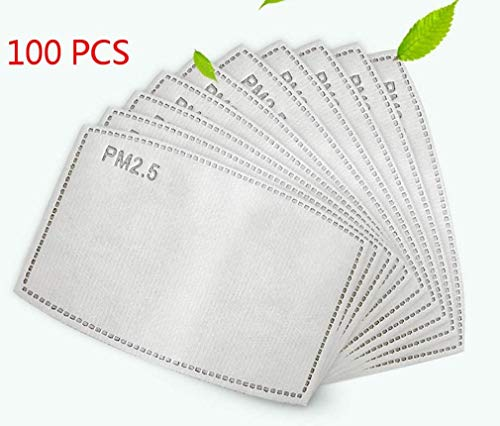 Breathing PM 2.5 Activated Carbon Filter Insert for Cotton Face Masks Replaceable Face Mouth Cover Masks, Anti Dust, Anti-saliva - 100 PACK -  3