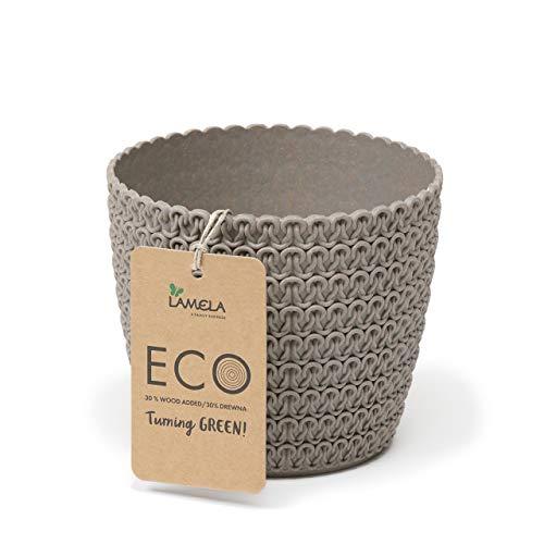 Lamela Magnolia Jersey ECO (+ 30% legno) – Diametro 16 cm, colore: Eco grigio – Vaso per fiori e piante – Vaso per piante Vanage in plastica + 30% legno