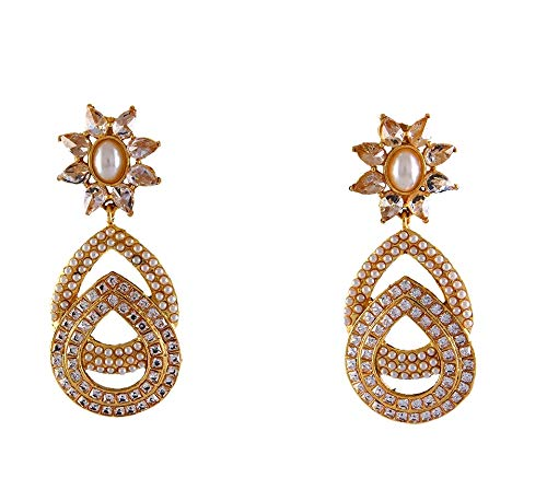 JewelryGift Simple Design Floral Dangle Earrings Gold Plated CZ, Pearl Fancy Indian Handcrafted Kundal Jewellery for Women Girls Ladies MYE 70-WHITE