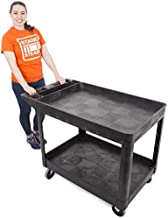 Stand Steady Original Tubstr Extra Large Utility Cart - Heavy Duty Tub Cart Holds up to 500 Pounds - 2 Shelf, Huge Rolling Cart - Great for Warehouse, Garage and More (45.5 x 24.5 / Black)