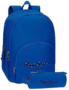 Mochila Pepe Jeans Harlow Azul doble compartimento adaptable a carro